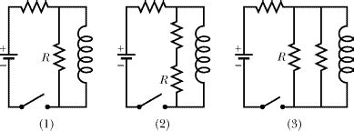 shows three circuits with identical batteries inductors and resistors the figure below shows three circuits with identic chegg