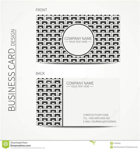pattern making business geometric monochrome business card template with stock