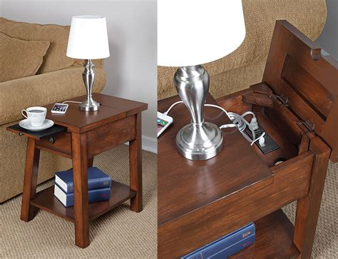 chairside table with charging station device charging end table the green