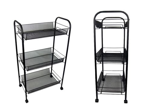 Bathroom Storage Trolley 3 Tier Bathroom Storage Trolley Toiletry Linen Cart Black