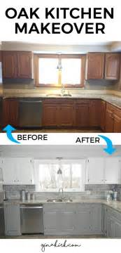 our oak kitchen makeover welcome home subway tile featured 5 kitchen cabinet makeovers