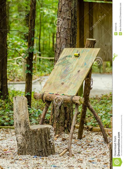 art easel  forest royalty  stock photo image