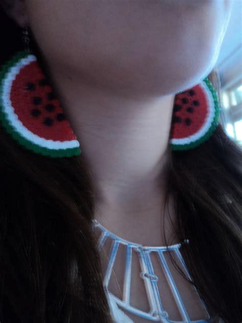 watermelon earrings     pair  pegboard bead