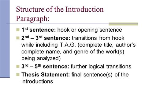 thesis statement structure the introduction paragraph ppt