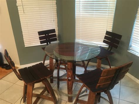 Wine Barrel Dining Table And Stools Wine Barrel Dining Table