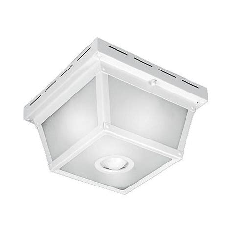 square white finish motion sensor outdoor ceiling light