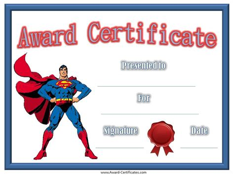 free printable superhero templates certificates for kids