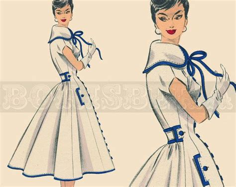 dress pattern in french vintage french dress coat sewing pattern 50s pdf door