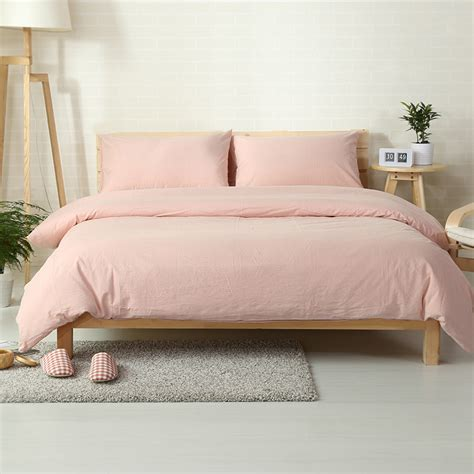 light pink quilt twin japanese style solid color bedding set 100 washed cotton