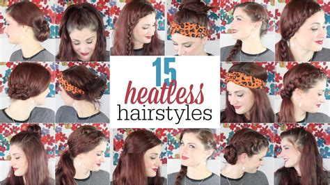 heatless hairstyles shoulder length hair 15 heatless hairstyles youtube