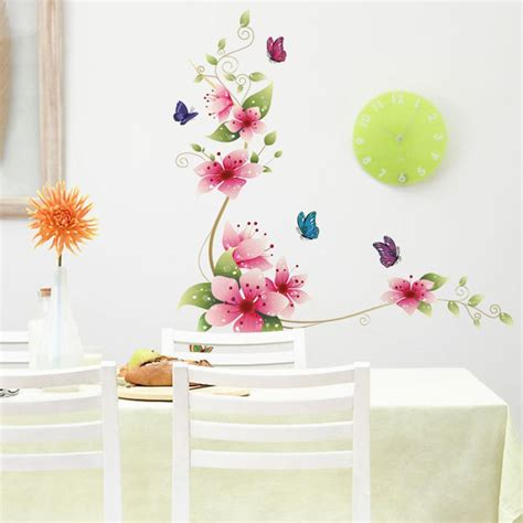 wall removable stickers flower butterfly wall paper decals removable