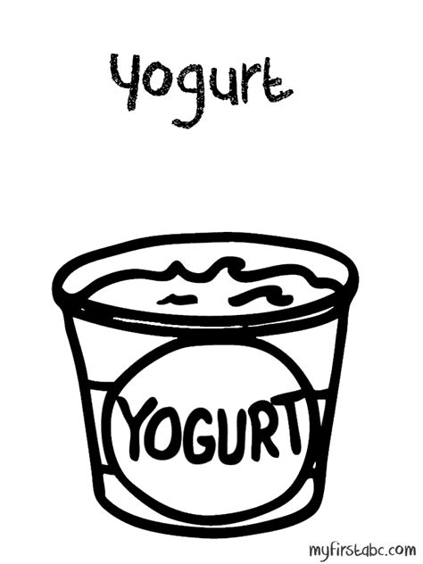 Coloring Page Yogurt by Yogurt Coloring Page My Abc