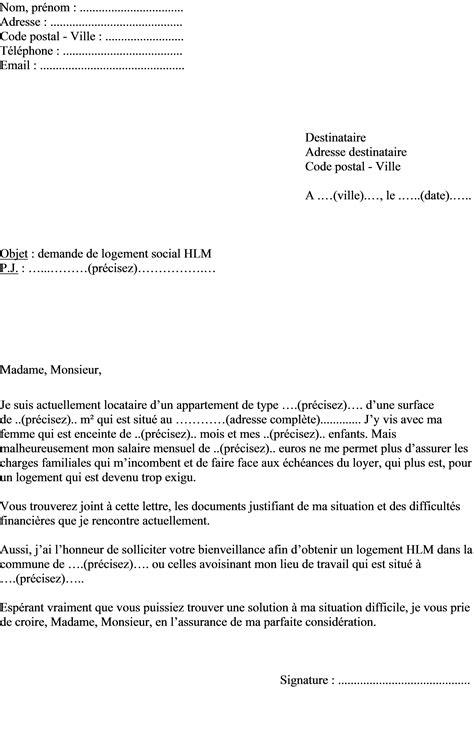 Lettre Demande De Logement Social Urgent mod 232 le de lettre pour demander un logement social type hlm