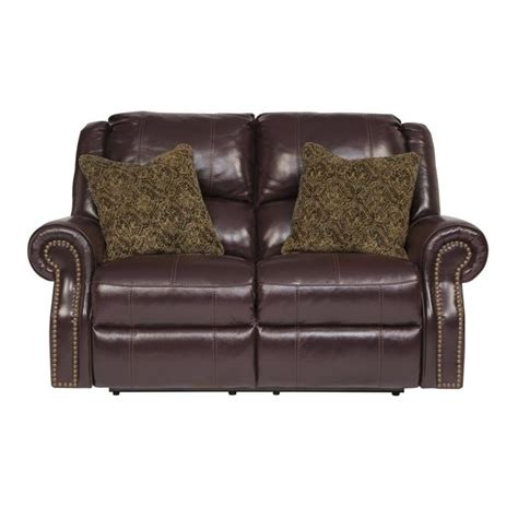 ashley leather loveseat recliner ashley walworth leather reclining loveseat in blackcherry
