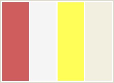 colors that go with yellow colorcombo64 with hex colors cd5c5c f5f5f5 fffe59 f3efe0