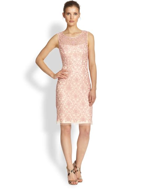 Lyst   Kay unger Sleeveless Lace Sheath Dress in Pink