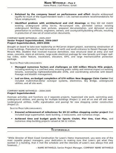 resume sle 23 construction superintendent resume career resumes