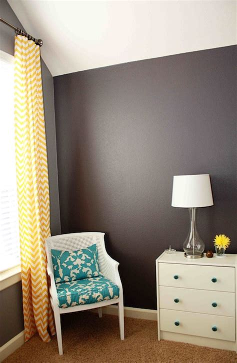 yellow curtains gray walls chevron drapes contemporary den library office behr