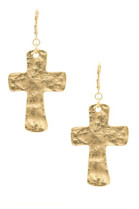 Cross Drop Earring metal cross drop earrings