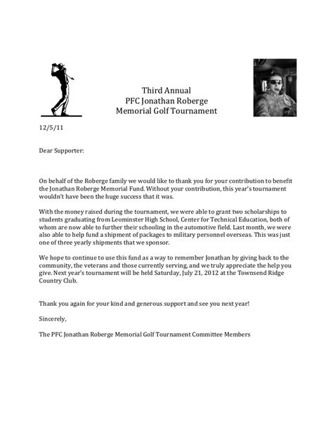 Fundraising Committee Thank You Letter thank you letter memorial golf tournament