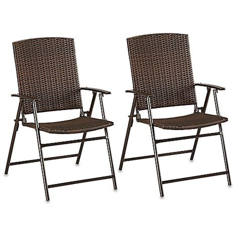 Bed Bath And Beyond Bistro Table Barrington Wicker Bistro Folding Chairs In Brown Set Of 2 Bed Bath Beyond