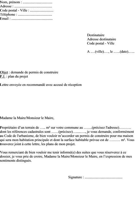 Demande De Lettre Pour Parloir Exemple De Lettre Demande Permis De Construire D Une Maison 224 Envoyer Au Maire Actualit 233 S