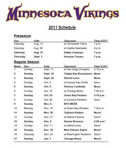 printable minnesota vikings 2015 schedule search results