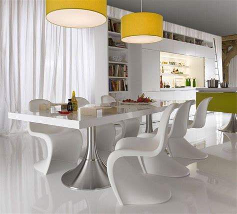 Modern White Dining Room Table | light white dining interior unique chairs modern dining