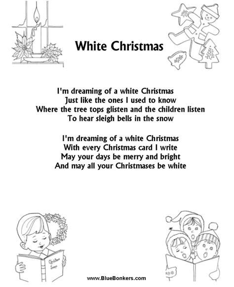 printable christmas carols bluebonkers white christmas free printable christmas