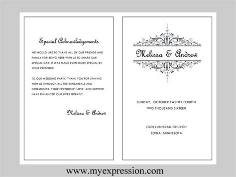 Wedding Program Template Vintage Filigree Instant Download Program Template Microsoft Word