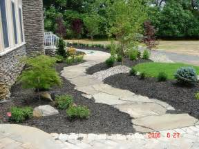 ideas creative landscaping ideas for front of house with stone walkway and gravel plus small plants