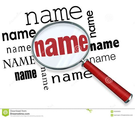 name definition name words magnifying glass searching finding