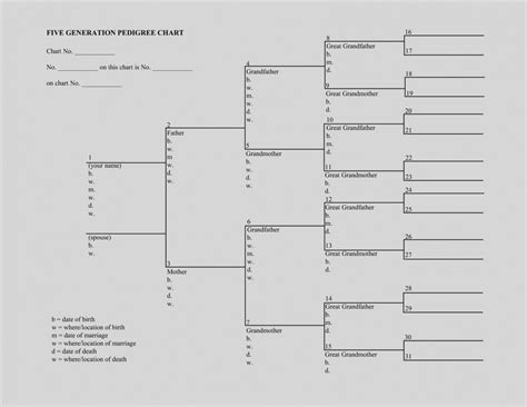 Templates For Family Tree Charts by Wonderful Blank Pedigree Template Free Printable Family
