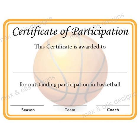 certificate participation template basketball certificate of participation now fillable pdf