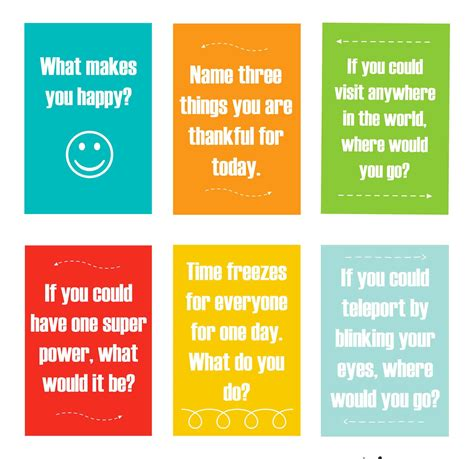 printable conversation cards template family dinner conversation starters