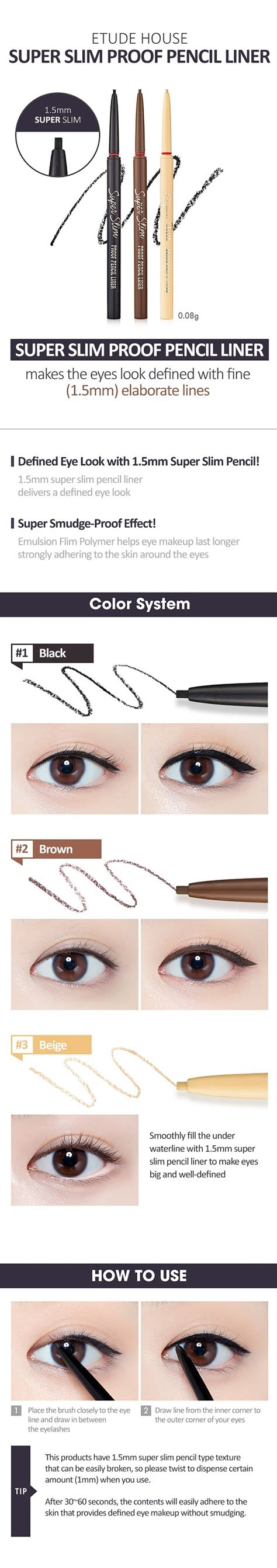 Eyeliner Etude etude house slim pencil liner