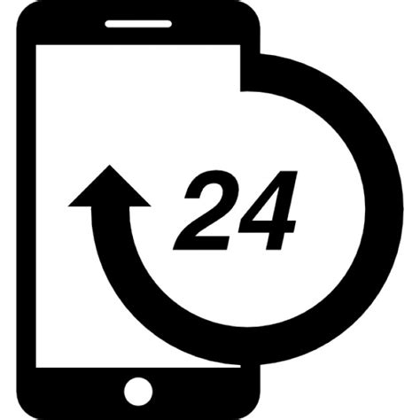 mobile de 24 telephone 24 hours service icons free