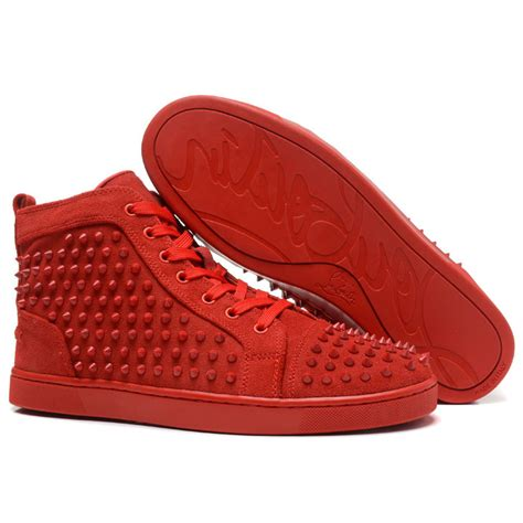cheap christian louboutin louis spikes mens flat high top suede sneakers all sale cheap