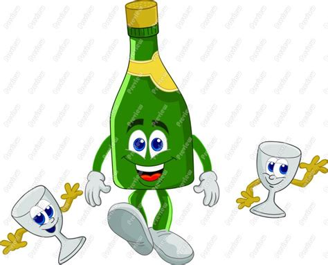 chagne toast cartoon chagne bottle cartoon
