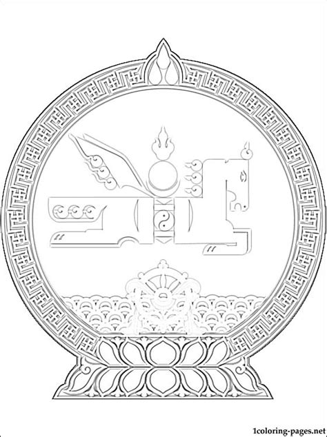 mongolia coat of arms coloring page coloring pages