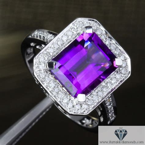 emerald cut amethyst antique style halo pave