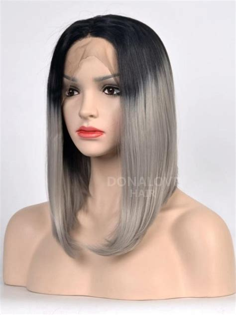 how to style medium bonding hairpiece black to gray shoulder length bob style lace front wig