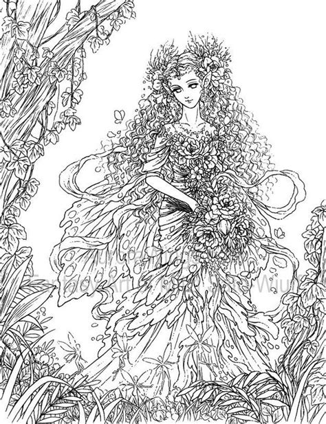 forest elf coloring pages artist mitzi sato wiuff coloring butterfly papillon