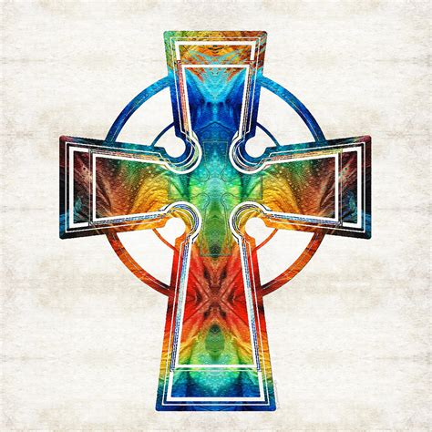 colorful celtic cross by painting by