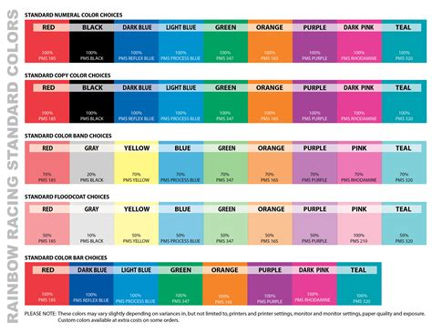 color standards standard colors rainbow racing systems