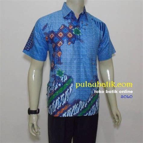 Kemeja Tenun Pendek D seragam batik kerja pria warna biru lengan pendek model