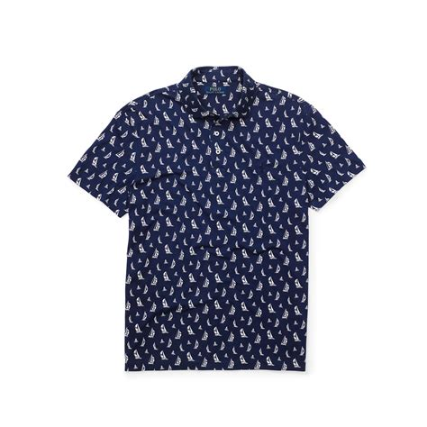 Kaus Polo Jersey polo ralph printed polo shirt in blue for lyst