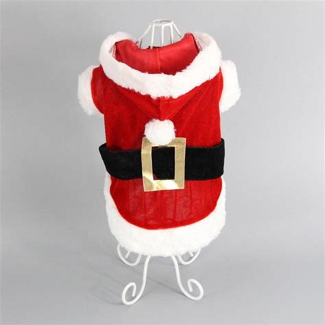 christmas red santa claus puppy dog costume pet cat coat