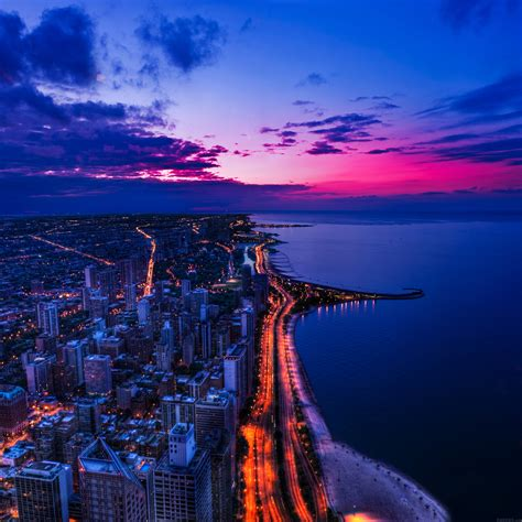 mh chicago city night sky view scape ocean beach papersco