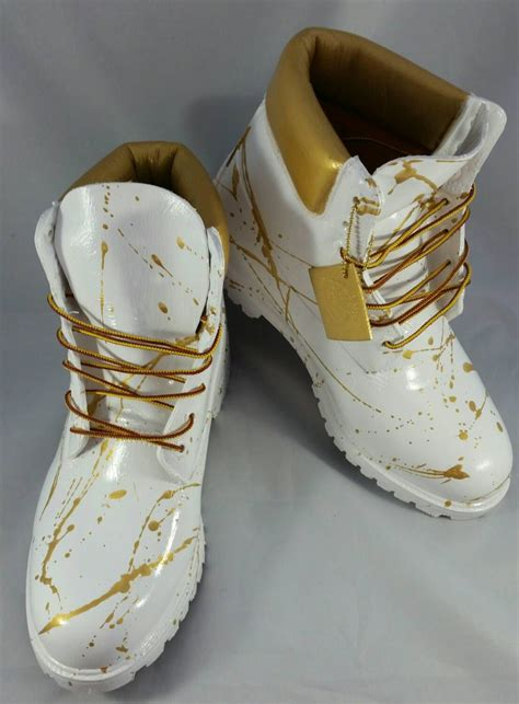 white timberlands boots custom white and gold quot cocaine quot timberland boots